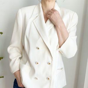 Vintage 80's Simon Chang Cream Silky Blazer Size 8